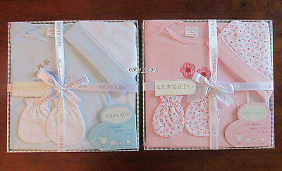 New Baby Gift Sets Boys Girls Pink Blue Bodysuit Mittens Hat Clothing 0-3 Mth