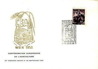 Fdc Autriche 1958 Confederation Europeenne Agriculture