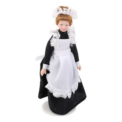 Miniature Doll House Porcelain Dolls Victorian Servant w/ Stand 1/12th Scale