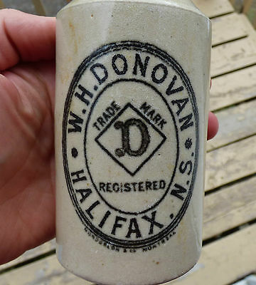 Antique HALIFAX, NS 'W. H. Donovan' stone ginger beer bottle FREE SHIPPING!