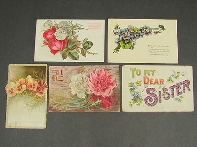 Antique Vintage Floral Flowers Good Luck Swastika Postcard Card Lot of 5