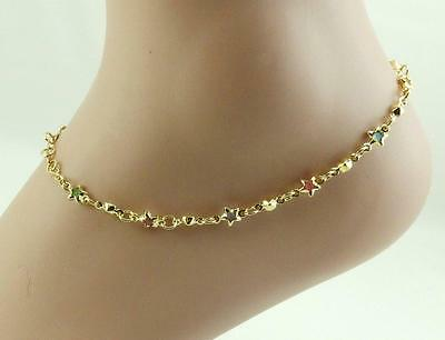 New a beautiful 18K gold filled Women Multicolor star crystal anklet!10""