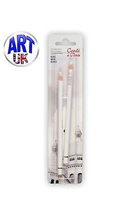 Conte a Paris Set of 2 WHITE Artists Colour PASTEL PENCILS Drawing Sketching
