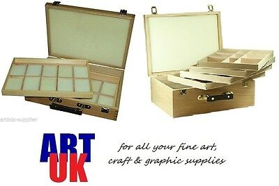 EPWORTH / LANGSETT Wooden Pastel Box 2/4 Draw/Tray Artists Drawing Storage Chest