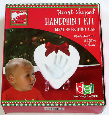 Heart Shaped Handprint Kit Keepsake Memory DIY Clay Tool Ribbon Foot Print Hand
