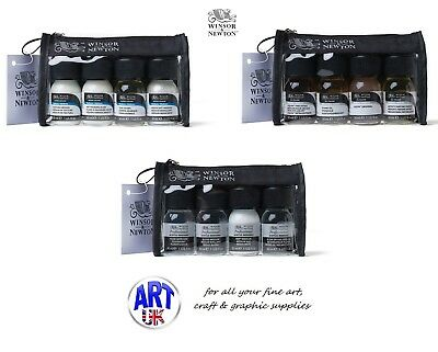 WINSOR & NEWTON ARTIST ACRYLIC, WATERCOLOUR, OIL PAINT MEDIUMS 4x30ml GIFT SETS