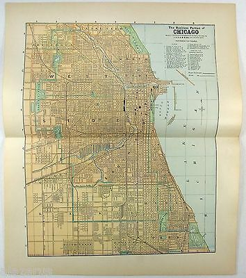 Original 1891 Street & Railroad Map / Plan of Chicago, Illinois by Fisk & Co