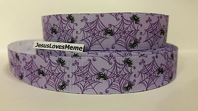 "1 2 3 METRES HALLOWEEN SPIDERS 22MM 7//8/"" GROSGRAIN RIBBON CRAFT BOYS GIRLS"