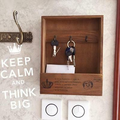 Vintage Wooden Mail Key Rack Holder Wall Mounted Hook Hanger Entryway Organizer