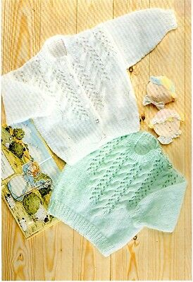 Vintage Baby Knitting Pattern Buttoned down Cardigan and Jumper in 8 Ply