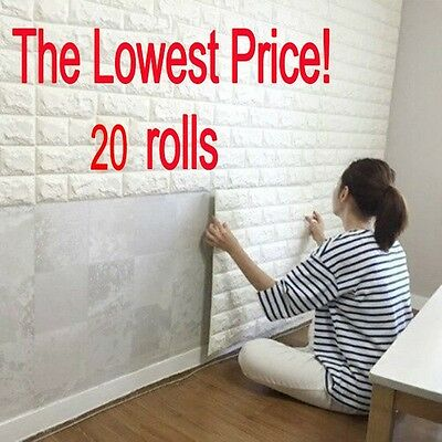 20 rolls 3D effect Stone Brick Wall Textured Vinyl Wallpaper Self-adhesive safe