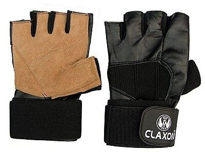 """CLAXON Inult All Leather Gym Gloves with Palm Sweat Leather & 2"""" x 12"""" Long Wris"""