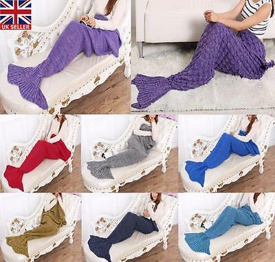 Mermaid Tail Blanket Crocheted Cocoon Sofa Quilt Rug Knit Christmas Gift UK