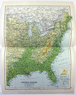 Original 1909 Physical Map of The Eastern USA by John Bartholomew