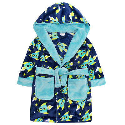 Embroidered Personalised Baby boys star hood Soft Baby Dressing Gown Bath Robe