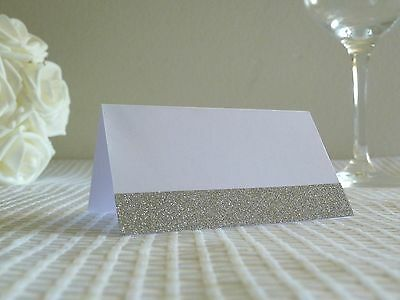 10-200 Elegant White And Silver Blank Place Cards For Wedding Parties Engagement