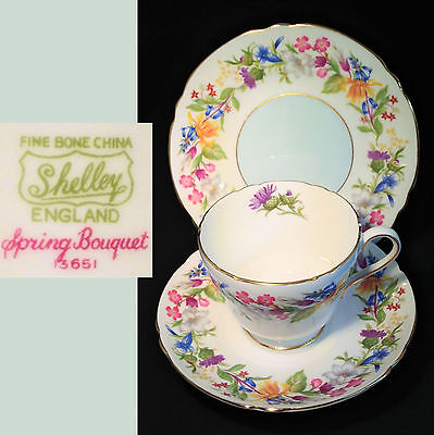 Shelley 1946 Spring Bouquet 13651 Richmond Cup English Vintage China Trio Set