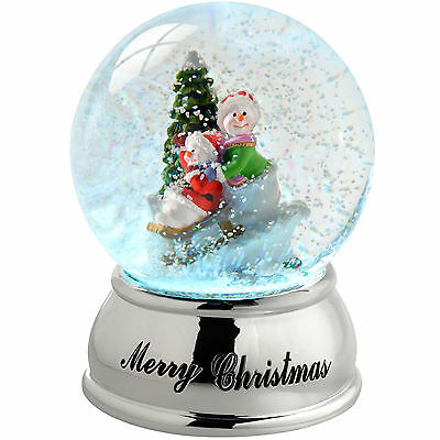 10cm Snowmen Sleigh Snow Globe Colour Changing Christmas Decoration