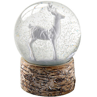 13cm Snow Globe White Stag and Birch Base Christmas Decoration