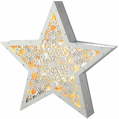 30cm Pre-Lit Hanging Wooden Star Christmas Decoration, White