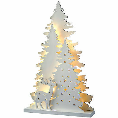 46cm Pre-Lit Wooden Tree and Reindeer Scene Table Christmas Decoration