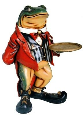FROG BUTLER STATUE tray 3' sculpture restaurant cafe waiter display