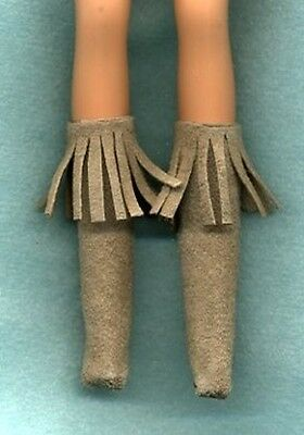 Barbie Doll Boots - Tan Suede W/ Fringe Genuine Leather Clothes - Linhill