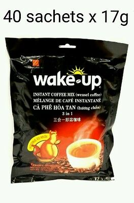 40 sachets x 17g Vietnamese VINACAFE Wake Up 3 in 1 WEASEL Instant Coffee mix