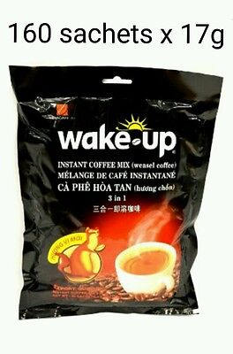 160 sticks x 17g Vietnamese VINACAFE Wake Up 3 in 1 WEASEL Instant Coffee mix