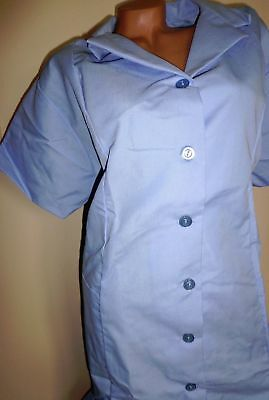 Best Medical Nurse Collared Dress 8 Button Front 2 pockets Blue Sizes 2X to 4X