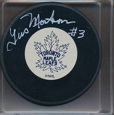 Autographed Gus Mortson Toronto Maple Leafs Puck Deceased