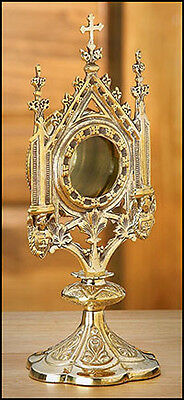 "Brass Monstrance Reliquary 5 X 11 1/2"" - Free Shipping"