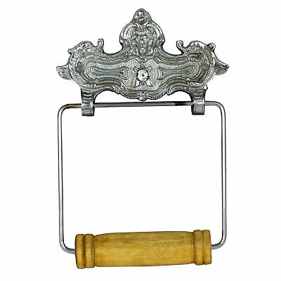 Wall Mount VINTAGE STYLE CHROME Toilet Paper Holder Paris French Decor