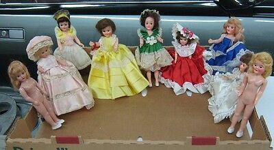 """9-Vintage 1950's Dutches Knickerbocker Dolls Of Nations 6"""" to 7 1/2"""" Lot Of Doll"""