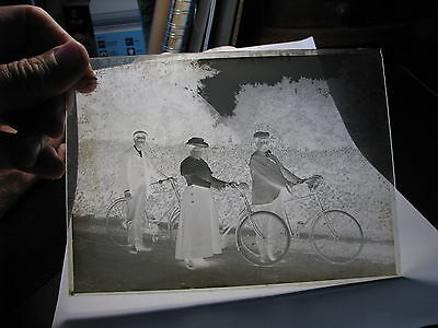 2 early cyclist cycling bicycle glass plate negative photos (Reading area maybe)