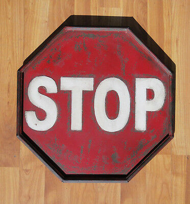 Antique Retro Stop Sign Metal Tin Construction - Replica - Small Painted