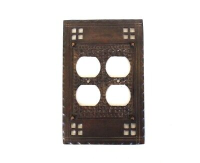 Double Duplex Outlet Switch Plate Arts and Crafts - Mission Bungalow Bronze