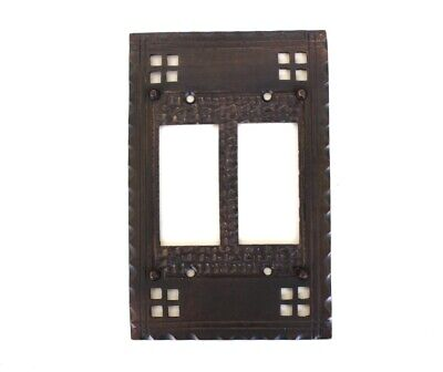 Arts and Crafts Double Rocker Switch Plate - Mission Oil Rubbed Bronze Brass