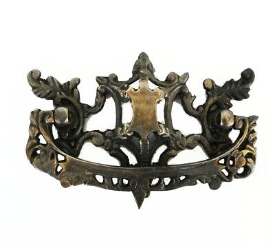 "Aged Bronze Chippendale Dresser Pull Solid Brass Vintage Hardware ""The Salem """