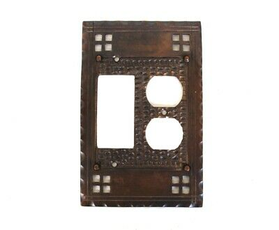 Arts and Crafts Duplex Outlet and Rocker Switch Plate Mission Brass Bronze