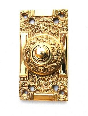 Push Button Electric Door Bell in Brass Antique Replica Victorian Hardware