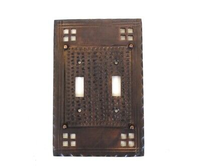 Arts and Crafts Double Gang Switch Plate Mission Oil Rubbed Bronze Brass