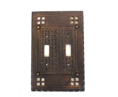 Arts and Crafts or Mission Oil Rubbed Bronze Brass Double Gang Switch Plate