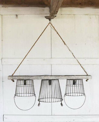 Vintage Iron Country Basket Kitchen Chandelier Wood Cottage Lighting • CAD $296.81