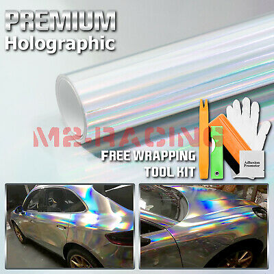 *Holographic Silver Rainbow Neo Chrome Car Vinyl Wrap Bubble Free Sticker Film
