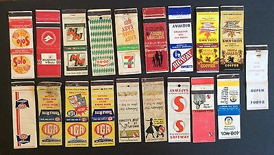 19 Food Store Matchbook Covers, Safeway, Iga, Bigway, Western Family