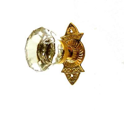 Victorian Reproduction Door Hardware Passage Set with Latch Glass Knobs