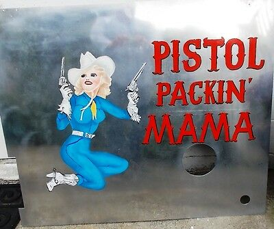 """Hand Painted WWII Nose Art """"Pistol Packin' Mama"""" Pin Up Girl on Aircraft Panel"""