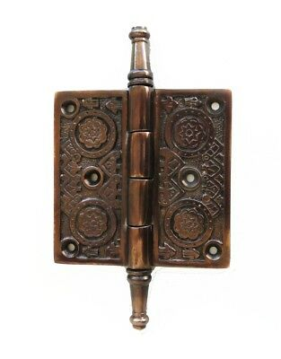 "Victorian Motif Design 3.5"" Solid Brass Door Hinge Resto DARKENED AGED"