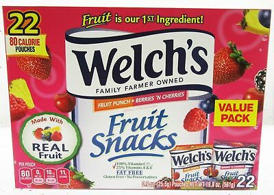 Welch's Fruit Punch Fat Free Fruit Snack Pouches 22ct 9 oz bags real fruit  BFR